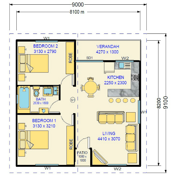 Two bedroom granny flat design kenneth for Floor plan granny flat