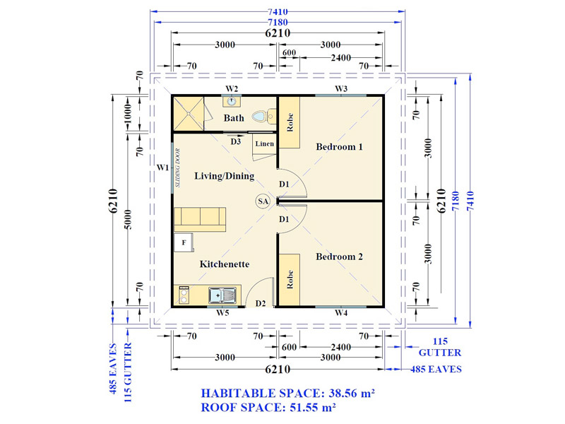 the julianna 2 bedroom granny flat floor plan