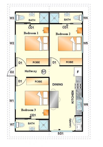 The Student 3 Bedroom Granny Flat Design