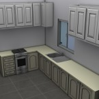 small granny flat kitchen render