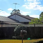 side view of the roof and main dwelling roof at our minto granny flat